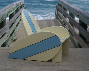 Surfboard Chair For Kids With Blue Stripes Nautical Bedroom Decor Surfboard Decor Free Shipping