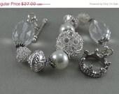 SALE Rhinestone Bead Pearl and Crystal Bracelet