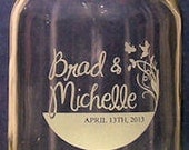 2 Hand Etched 16 oz. Custom Mason Jars. Free Shipping in the U.S.A.FREE SHIPPING  to the Continental U.S.A.