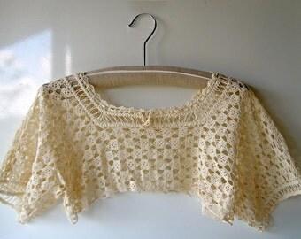 Vintage 1950s Hand Crocheted Crop Lace Top Lace Blouse Bodice Trim Lingerie Cotton Accessory