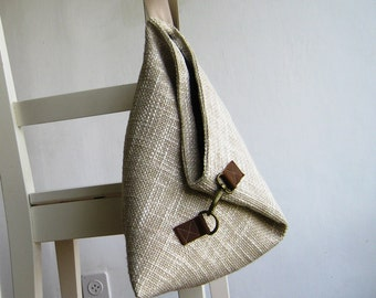 Over the Shoulder Purse in Upholstery Natural Linen