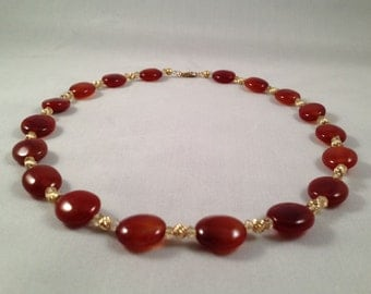 Carnelian Ruby Red Necklace with Citrine and 14k Gold, Ruby Red Carnelian Necklace, Citrine Gemstone Necklace, Red and Gold Necklace, Red