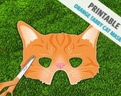 Orange Tabby Cat Mask | Childrens Party Mask | Halloween Mask | Kitty Mask