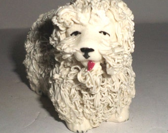 Vintage Dog Figurine - White Dog with Curly Fur - Small Dog Statue - Vintage Loopy Dog Figurine - Shaggy Dog - Ceramic Dog Statue