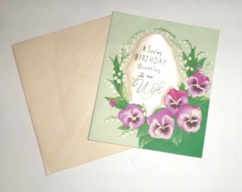 Vintage Birthday Card - Greeting Card - For My Wife Birthday Card - Purple Flowers - American Greeting Card - Unused Vintage Card