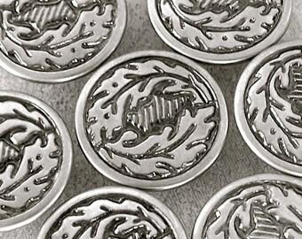 Silver Tone Metal Buttons 17mm - 5/8 inch Oak Leaves Woodland Crown - 7 VTG NOS Mid-Century Vintage Blazer Jacket Coat Shank Buttons MT58