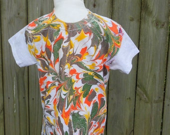 Extra Small Designer Baby Shirt with Brown, Green, Orange and Yellow Marbled Paint Made in Asheville, NC MM#BSX3