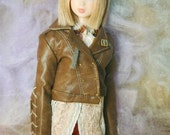 jiajiadoll- coffee brown 2 way leather jacket fits momoko or blythe Misaki Unoa light