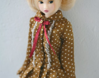 jiajiadoll-stone yellow mini dots lace bowknot long shirts dress fit momoko or misaki or blythe