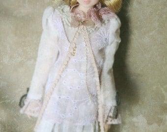 jiajiadoll- pink laced bowknots flower dress fit momoko or misaki or blythe