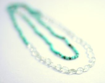Chrysoprase Green Amethyst and 14k Gold Filled Long Knotted Necklace