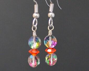 Earrings Handcrafted with Vintage Swarovski Aspirin and Bicone Beads - Hyacinth Bicone - Blue, Green. Purple, Yellow Aspirin Beads