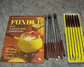 Vintage--FONDUE Cookbook--Plus 2 Sets Of Fondue FORKS--14 Forks In All--Color Coded Ends