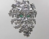 Sterling Silver Green Man Pendant with green agate eyes