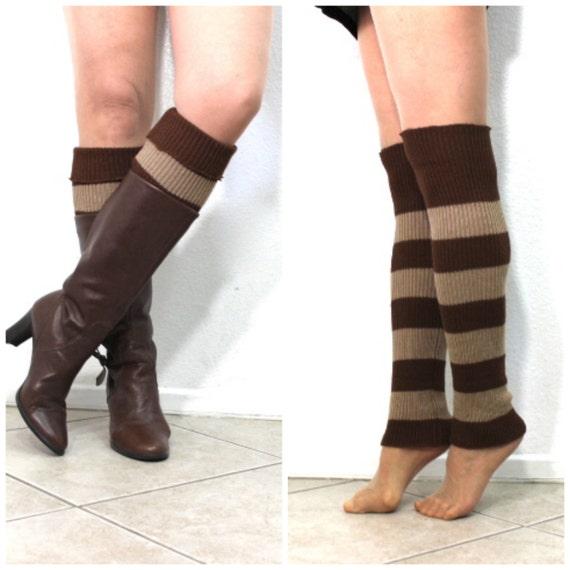 Items similar to Leg Warmers Slouchy Knit Stripe Knee Legwear or Arm Warmer W...