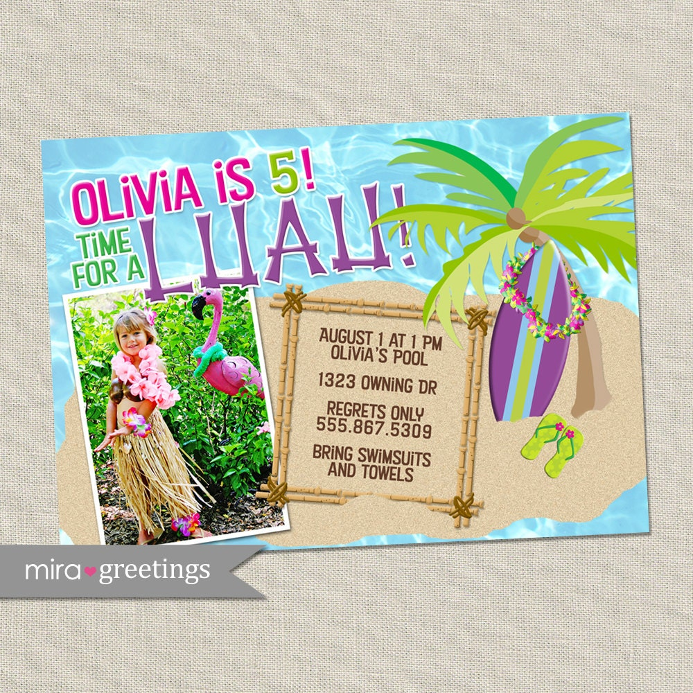 Luau Birthday Party Invitation Invite - beach ocean Hawaii surfing ...