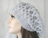 Knitted Slouchy Beanie, Chemo Hat, Stained Glass Slouchy Beanie, Womans Slouchy Hat, Light Gray Beret, Knit Gray Hat, Knitted Slouch Beanie