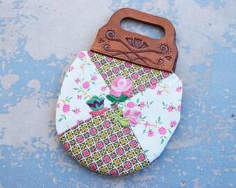 Boho Patchwork Quilt Floral Purse - Folk Tooled Leather Handbag #1