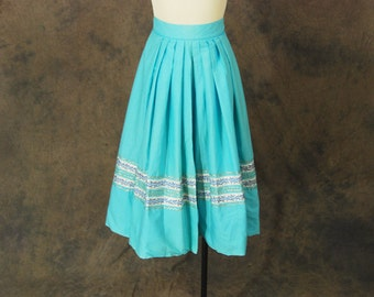 CLEARANCE vintage 50s Circle Skirt - Turquoise Blue and Silver Patio Skirt 1950s Country Western Skirt Sz XS