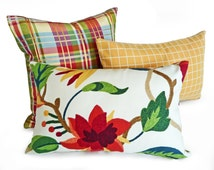 Bright Floral Pillow, Lumbar Cushion Cover, Red Orange Green White, Flowers Accent Pillow, 12x18, Girls Bedroom Decor, Oblong