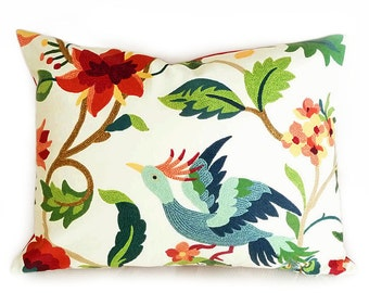 Multicolor Floral Pillows Covers, Colorful Birds Flowers Decorative Throw Pillows, White Red Blue Green Orange, 20x20