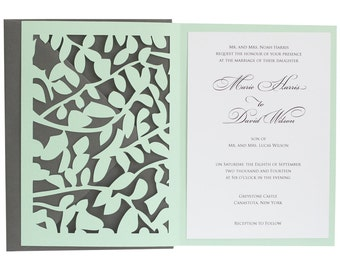 Leaf Lace Wedding Invitations - whimsical, vine, leaves, romantic, tan, neutral, brown, cutout, trellis wrap design with customizable colors
