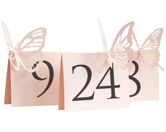 Butterfly Table Numbers - blush pink, wedding, place card, escort card, reception signage, wedding table number, wedding sign, laser cut