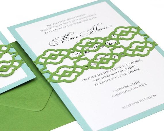 Summer Palace Fret Wedding Invitations - trellis, laser cut, kelly green, blue, pool, aquamarine, simple, fun, contemporary, delightful