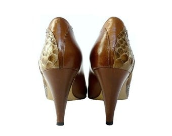 ARA French Vintage Brown Leather with Snake Skin Patches High Heel Shoes