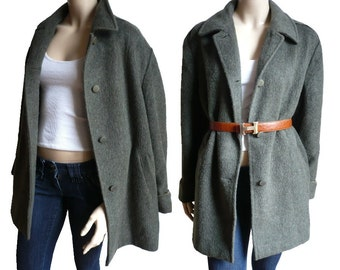 DRAPE COTI French Vintage Lama Wool Khaki Coat