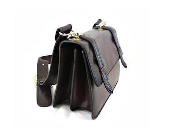 JANINE French Vintage 50s Dark Burgundy Leather Shoulder Bag