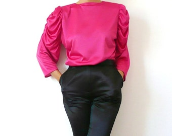 French Vintage Pink Blouse with Gold Buttons