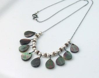 Black Lip Shell and Silver Bib Necklace, Luminous Shell Necklace Reversible for Black or White, Versatile Elegant Necklace, Artisan Original