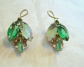 Vintage 1960s Green Rhinestone Leaf Earrings Gold Clip Ons