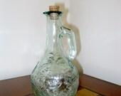 Vintage Green Pressed Glassed Corked Cruet
