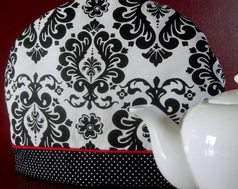 Teapot cozy | Damask | Black and White | Teapot cosy | Black and Red | Tea pot cozy | Polka dots | Tea warmer - Ready to ship