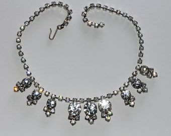 Vintage 1950's dangle crystal rhinestone necklace signed Laguna adjustable costume jewelry shipping incl within Canada and U.S.A
