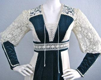 Vintage 1970's Gunne Sax Renaissance Style Blue Velvet and Cotton Maxi Dress