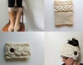 2 Patterns - Grace Cable Boot Cuffs Knitting Pattern & Aspen Cable Headband Knitting Pattern / Digital PDF Knitting Pattern