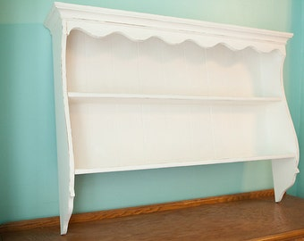 Shabby Chic Display Shelf White Distressed Bead Board Vintage Wall Mounted