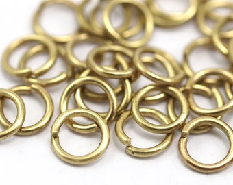 8mm Jump Rings - 100 Raw Brass Jump Rings 8x1.2 mm  A0368