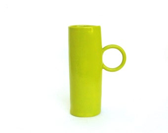 whimsical hand built  porcelain cup   ...   chartreuse