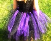 Girls Tutu Dress- Black and purple