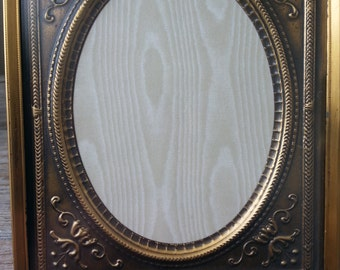 Vintage Gold Metal Picture Frames with Oval Embossed Matte
