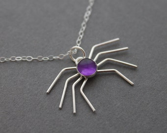 Sterling silver necklace - Amethyst necklace - Scary Spider - Handmade pendant