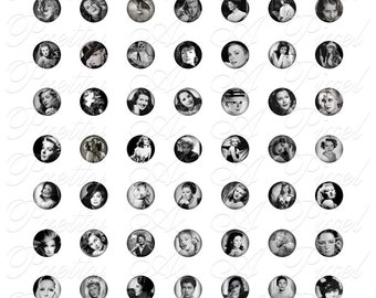 Silver Screen 1 - The Ladies - INSTANT DOWNLOAD - 16mm Circles - Digital Collage Sheet