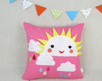 There is a Sun - Children Pillow - Children, Nursery, Pillow, Handmade