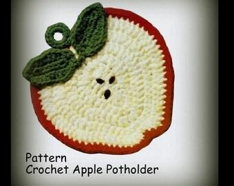 Apple Potholder Crochet Pattern - PDF 0215984 - Instant Download Pattern