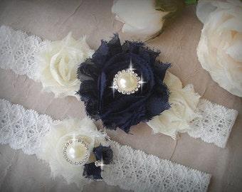 Navy Blue Garter set, Wedding Garter Set, Swarovski Crystal garter, Flower Garter, Ivory Bridal Garter Set