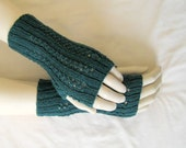 Lace fingerless gloves, hand-knitted in green
